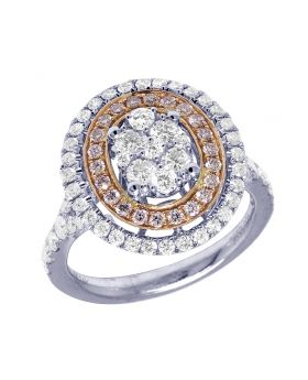14K Two Tone Gold Double Halo Cluster Diamond Ring 18MM 1.5CT