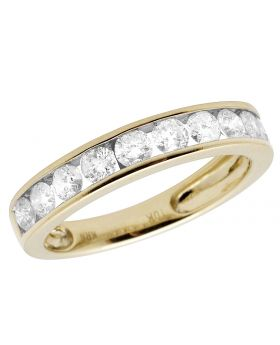 Ladies 10K Yellow Gold Channel Real Diamond Ring Band 1.0CT