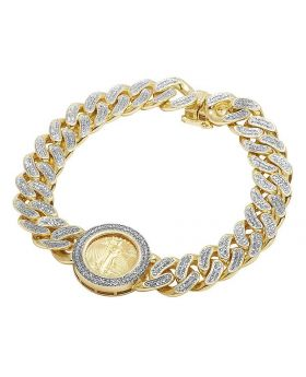 24K Yellow Gold Coin Lady Liberty 1/10 Ounce 12MM Diamond Bracelet 2.5 Ct 8.5""