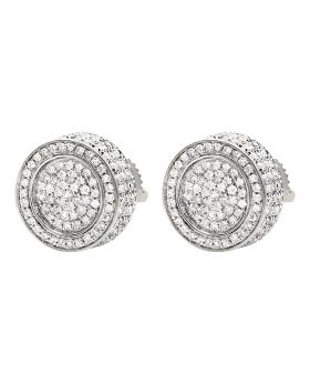 10K White Gold 3D Pave Real Diamond Stud Earrings 1.20ct