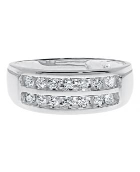 Mens 2 Row Channel Round Cut Diamond Band Ring (0.50 Ct)