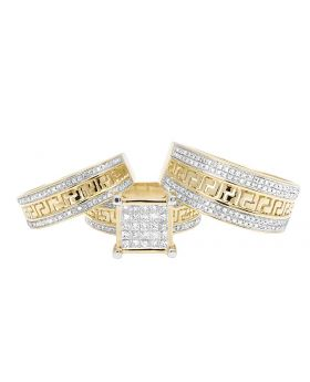 14K Yellow Gold Real Princess Diamond Trio Wedding Set 1.5 ct