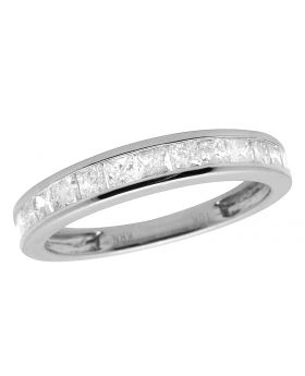 10K White Gold Invisible Princess Genuine Diamond Ring Band 0.50ct 3.5MM
