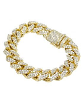 10K Yellow Gold 15 CT Diamond 15MM Miami Cuban Bracelet 8.5""