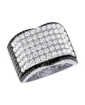 Men's 14K White Gold Diamond Black Concave Ring 4.45 Ct 16MM