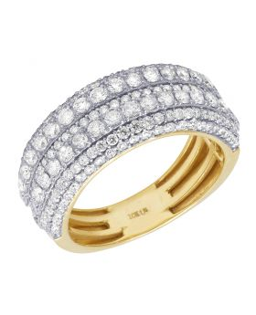 Mens 10K Yellow Gold Multi Row Diamond Ring Band 2.65CT