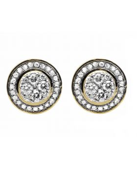 10K Yellow Gold 10MM Round Halo Flower Cluster Diamond Stud Earrings 3/4CT