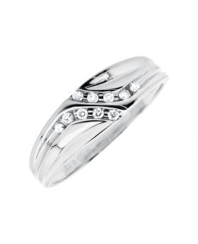 10K White Gold Channel Set Diamond Wedding Band Ring (0.12ct.)