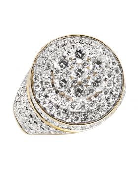 Men's Yellow Gold 10K 3D Round Cluster Real VS Diamond Pinky Ring 4.65 ct