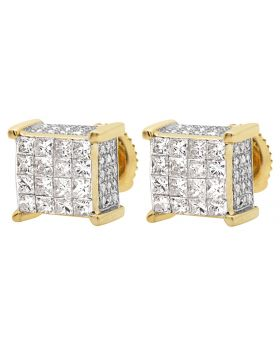 10K Yellow Gold Ice Cube Block Princess Diamond Stud Earrings 1.25ct