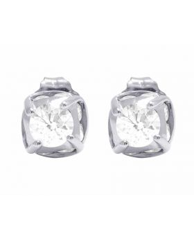 14K White Gold Genuine Diamond Solitaire Studs Earrings 1 1/2 Ct 7MM