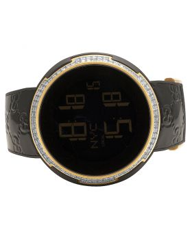 Mens Gucci Latin Grammy Rose Black 49MM Diamond Watch YA114102 3.0 Ct