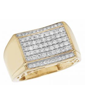 Men's Real Diamond Pinky Band Ring In 10K Yellow Gold 1.50ct 20MM