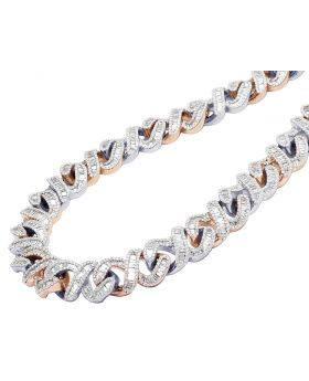 10K Two-Tone Gold Infinity Cuban Baguette Diamond Chain 33.85CT 18MM 18""