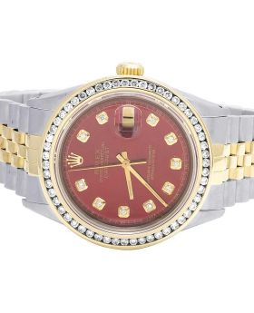 Rolex 18K/ Steel Datejust Two Tone 36MM Red Dial Diamond Watch 2.0 Ct