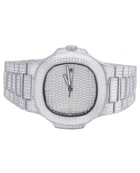 Mens White Steel Iced Out 40MM PP Simulated Diamond Watch