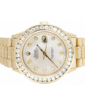 Rolex President 18K Yellow Gold 36MM Presidential Datejust Diamond Watch 7.5 Ct