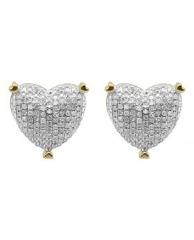 12mm Pave Diamond Puffed Heart Earrings in 10k Yellow Gold (0.75 ct)