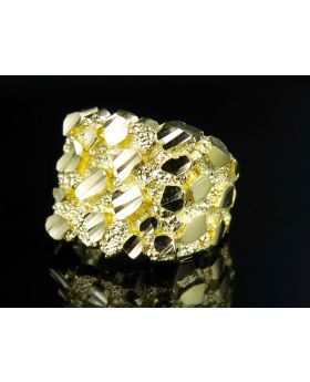 Men's 10K Yellow Gold Large Nugget Style Custom Ring