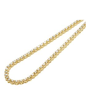 10K Yellow Gold 1 Row Tennis Choker Toni Set Diamond Chain Necklace 4mm 19""