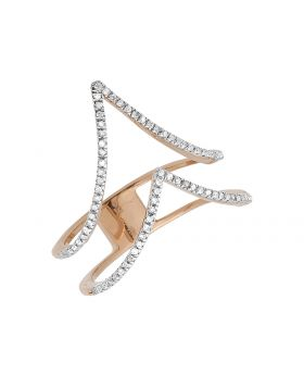 Chevron Knuckle Diamond Ring in 14K Rose Gold (0.25 ct)