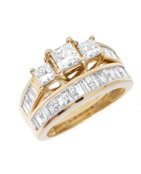 14K Yellow Gold Princess Baguette Diamond Engagement Ring Set 2.0ct