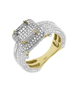 10k Yellow Gold Pave Diamond 3D Engagement Ring (1.50 ct)