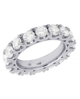 14K White Gold Diamond Solitaire Eternity Wedding Band Ring 4.25 CT 4MM