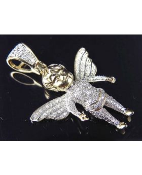 """10K Yellow Gold Genuine Diamond Fully Iced Out Mini Angel Pendant (.50ct) 1.25"""""""