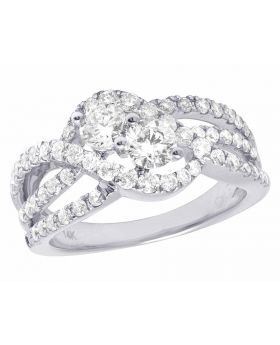 14K White Gold Genuine Diamond Two Stone Engagement Wedding Ring 2 1/3 Ct 10MM