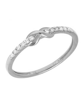 Ladies White Gold Infinity 1 Row Prong Promise Ring Band 0.10 CT