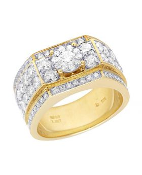 Men's 10K Yellow Gold Diamond Solitaire Cluster Wedding Band Ring 3.10 CT 12MM