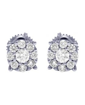 14K White Gold Real Diamond 4 Prong Round Cluster Earrings 7mm 0.53 CT