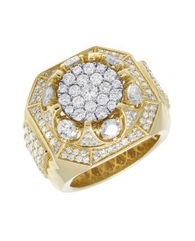10K Yellow Gold 3D Step Shank Real Diamond Pinky Ring 4.5CT
