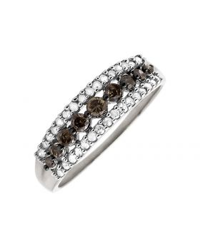 10K White Gold 3 Rows Brown and White Diamond Wedding Ring Band 0.50ct.