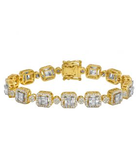 10K Yellow Gold Real Diamond Baguette Link Bracelet 6.2 CT 7""