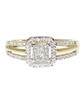 10k Yellow Gold Engagement Ring with Princess Diamonds (0.35 ct)