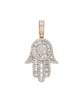 10K Rose Gold Real Baguette Diamond Hamsa Hand Pendant 3.5 CT 1.75""