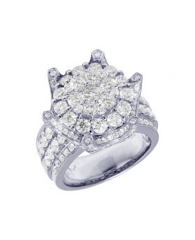14K Mens White Gold Flower Cluster Crown Prong Pinky Ring 5.12CT