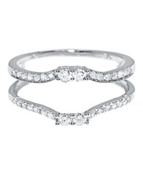 Solitaire Enhancer Ring Jacket with Round Diamonds in 14k White Gold (0.35 ct)