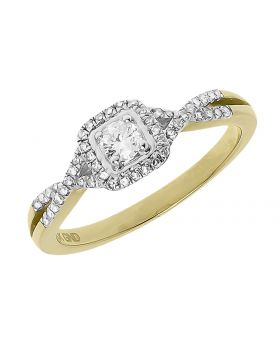Round Solitaire Diamond Engagement Ring in Yellow Gold (0.32 ct)