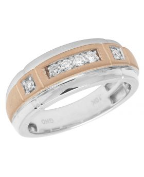 Men's 10K Two Tone Gold Real Diamond Band Ring .25ct