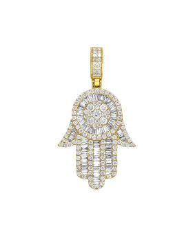 10K Yellow Gold Real Baguette Diamond Hamsa Hand Pendant 3.5 CT 1.75""