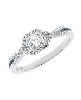 Round Solitaire Diamond Engagement Ring in White Gold (0.32 ct)