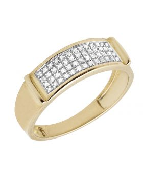 Men's 10k Yellow Gold four Row Pave Real Diamond Comfort Band Ring 0.33ct 7MM