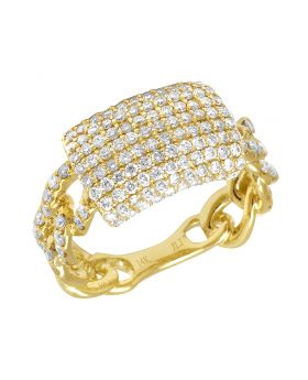 14K Yellow Gold Cuban Eternity Pinky Ring Band 12MM 2 CT