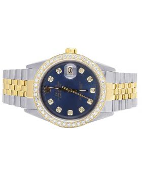 Rolex Datejust 18K Two Tone 36MM Blue Dial Diamond Watch 3.5 Ct
