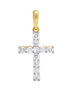 10K Yellow Gold Real Diamond Solitaire Cross Pendant 1.06 CT 1.1""