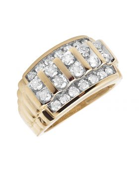Men's 10K Yellow Gold Real Diamonds Channel Wedding Band Ring 2.0ct