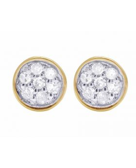 10K Yellow Gold Real Diamond Round Earring Studs .06 ct 4MM